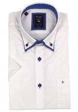 elegantes Doppel-Kragenhemd Kurzarm von Armas in Weiß