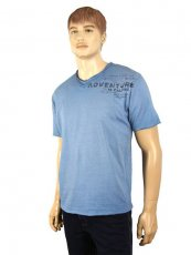 V-Neck-T-Shirt von Pioneer  in Riviera-Blau Washer-Look kurzer Arm